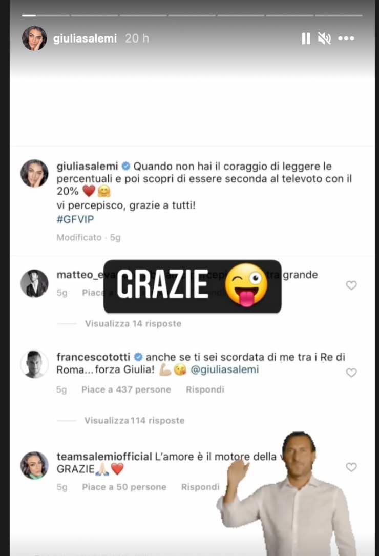 Giulia Salemi commento di Totti
