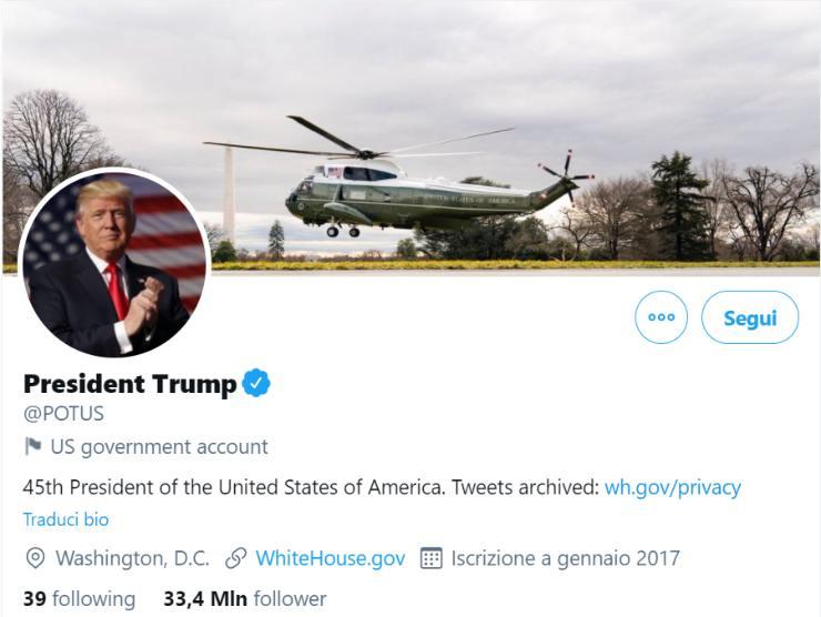 Trump social presidente blocco