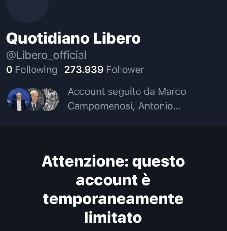 Twitter blocca l'account di Libero