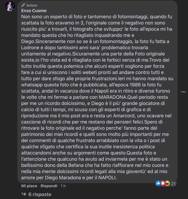 sindaco portici foto maradona fake gaffe