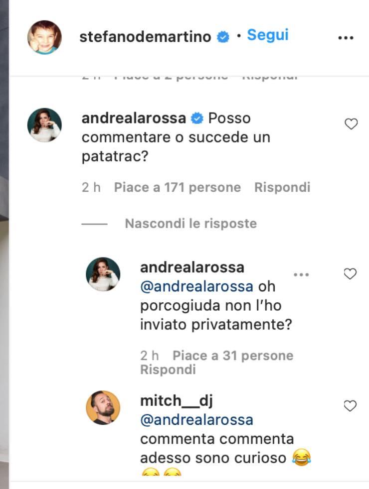 Andrea Delogu commenta lo scatto di Stefano De Martino