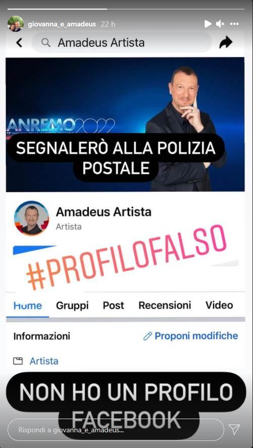 Screenshot Storia Instagram di Amadeus